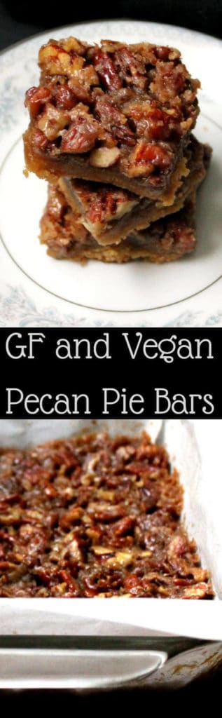 Glutenfree vegan Pecan Pie Bars. No corn syrup. The crunch of pecans, gooey caramel and a melt-in-the-mouth almond flour crust make these the best pecan bars you've ever tasted. #vegan #glutenfree #holidays #pecanpie #cookies