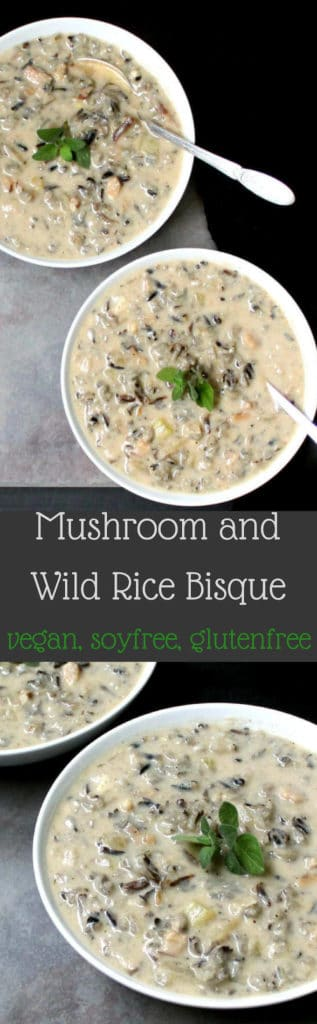 Mushroom Wild Rice Bisque #vegan #soup #winter #mushroom #wildrice #glutenfree #soyfree HolyCowVegan.net