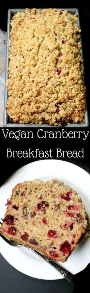 A vegan Cranberry Breakfast Bread is the perfect way to start a holiday with family and friends. The tender crumb has tiny bursts of tart, juicy cranberries and nutty pecans. A vegan, soy-free recipe, can be nutfree. #vegan #soyfree #nutfree #thanksgiving #recipe HolyCowVegan.net