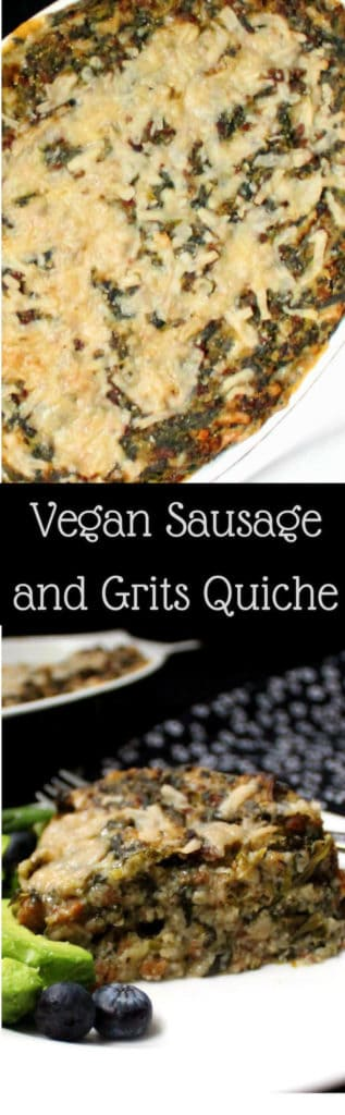 A Vegan Sausage and Grits Quiche is good eats for breakfast, brunch, lunch or dinner. Great for thanksgiving breakfast too. Packed with protein from the vegan sausage, with leeks and spinach infused in every bite, this delicious take on a southern classic will make you want to eat until every last bit is happily tucked away in your tummy.  #vegan #southernvegan #quiche #casserole #onepot #breakfast #brunch #lunch #dinner #thanksgiving HolyCowVegan.net
