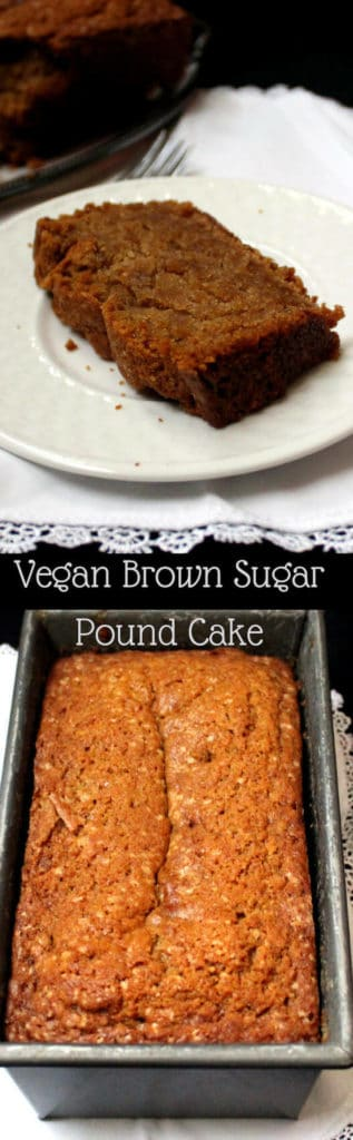 A tender and delicious vegan Brown Sugar Pound Cake infused with amaretto and vanilla. #soyfree #vegan #nutfree #cake #vegandessert #vegancake #easyrecipe #simplerecipe HolyCowVegan.net