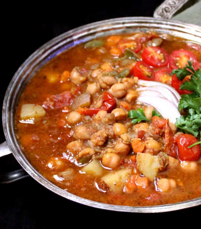 This Instant Pot Moroccan Chickpea Stew has no added oil and is filled only with stuff that's super healthy. Great if you're looking for a weight loss recipe packed with flavor in the New Year. #vegan #glutenfree #soyfree #nutfree #healthy #weightloss #recipe HolyCowVegan.net