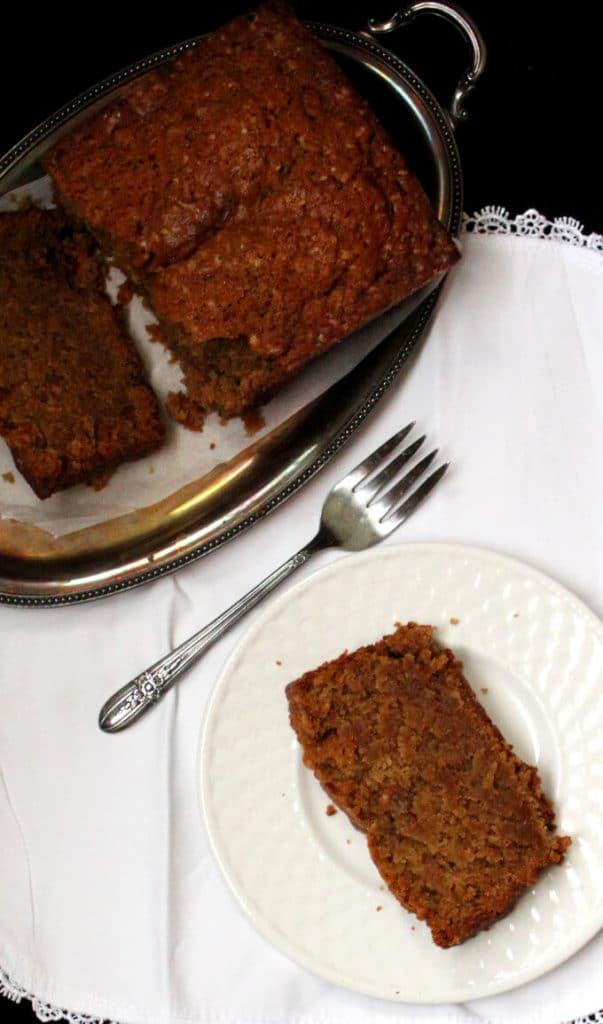 A tender and delicious vegan Brown Sugar Pound Cake infused with amaretto and vanilla. #soyfree #vegan #nutfree #cake #vegandessert #vegancake HolyCowVegan.net