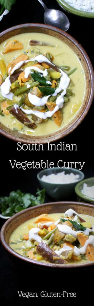 This South Indian Vegetable Curry, also known as an avial, is both easy and tasty. A medley of vegetables is drowned in a paste of coconut and simple spices. A vegan, soy-free, gluten-free and nut-free recipe. #vegan #indian #recipe #southindian #kerala #curry #vegetables #veggies #dinner #lunch -- HolyCowVegan.net