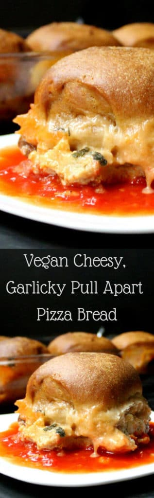 This vegan Garlicky Cheesy Pull Apart Pizza Bread is ooey, gooey, bubbly and delicious. Serve as a snack at your Super Bowl party, or for a fun family dinner! #vegan #dinner #superbowl #snack #pizza #cheese #bread HolyCowVegan.net