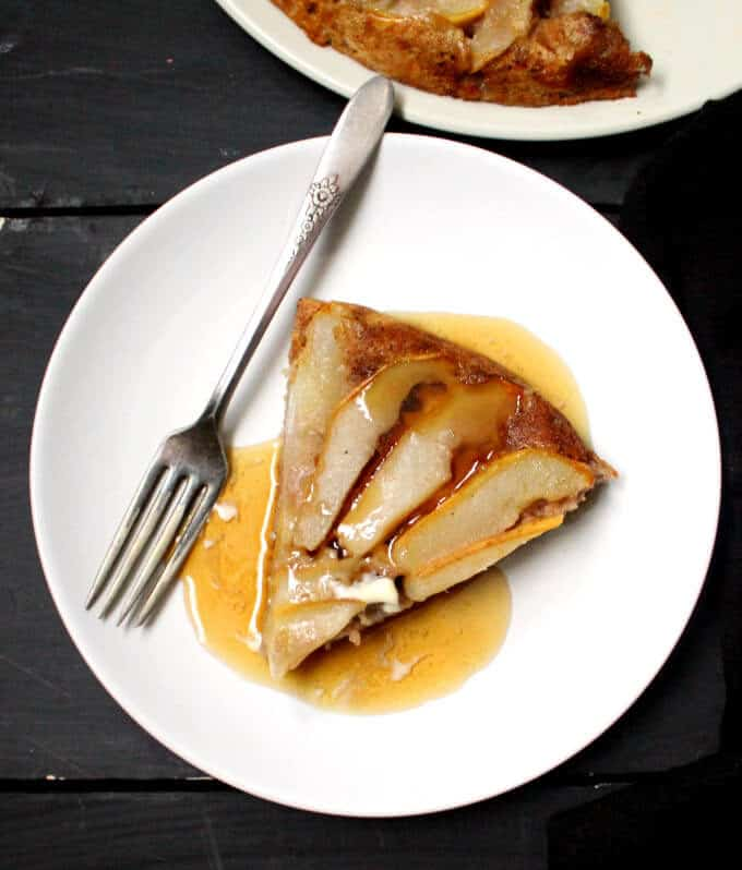 This Sourdough Skillet Pancake is fluffy and tender and extra-delicious with pears. A vegan, soy-free and nut-free recipe. #vegan #soyfree #nutfree #breakfast #recipe HolyCowVegan.net