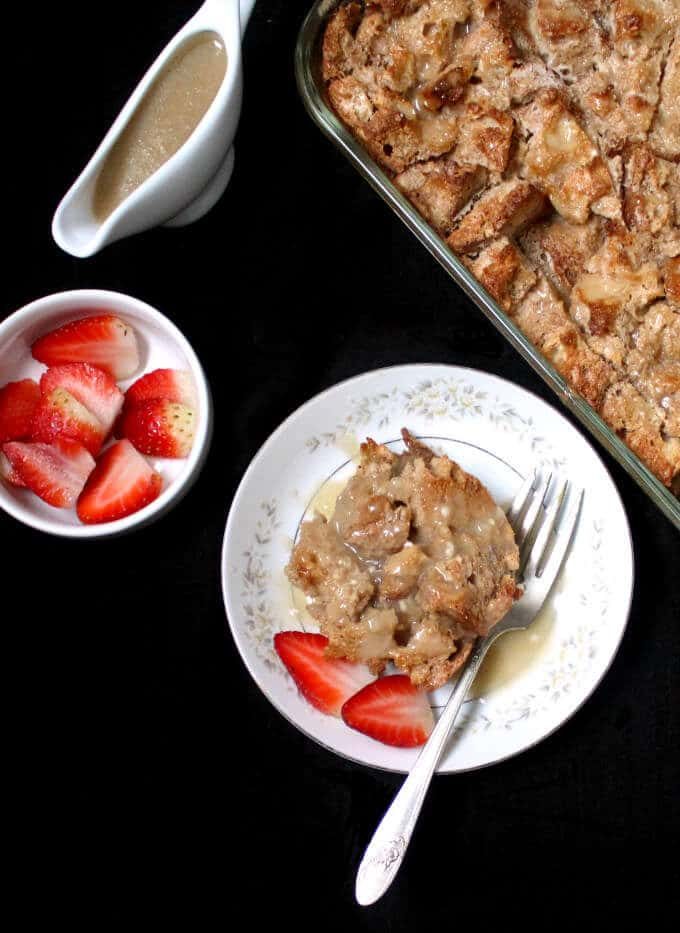 Transform leftover/stale French or Italian bread into this amazing Vegan Fruity Bread Pudding - HolyCowVegan.net