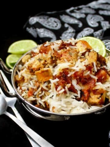 This delicious Vegetable Biryani is as tasty as anything you'd find in a restaurant, but it takes less time to make than it would to order takeout. A vegan, gluten-free recipe, can be soy-free and nut-free.