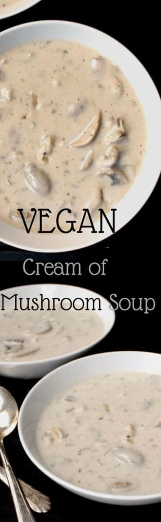 This extra creamy and tasty Vegan Cream of Mushroom Soup hugs you with warmth and deliciousness. It's the perfect comfort food, and it's dairy-free. #vegan #dairyfree #mushroom #soup HolyCowVegan.net