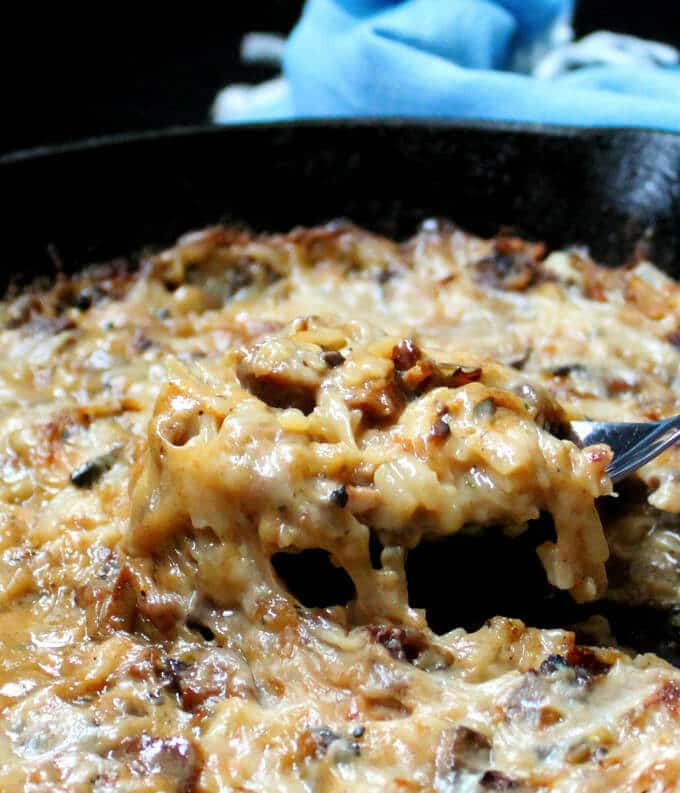 A bubbly, golden vegan Hash Brown Casserole that's cheesy, crispy and creamy all at once. #vegan #nutfree #breakfast #dinner #lunch #weeknight #recipe HolyCowVegan.net