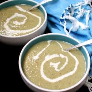An easy and tasty and comforting and creamy Vegan Irish Leek and Potato Soup made with just six ingredients. You'll be licking your soup bowl! #vegan #soyfree #glutenfree #soup #irish #stpatricksday