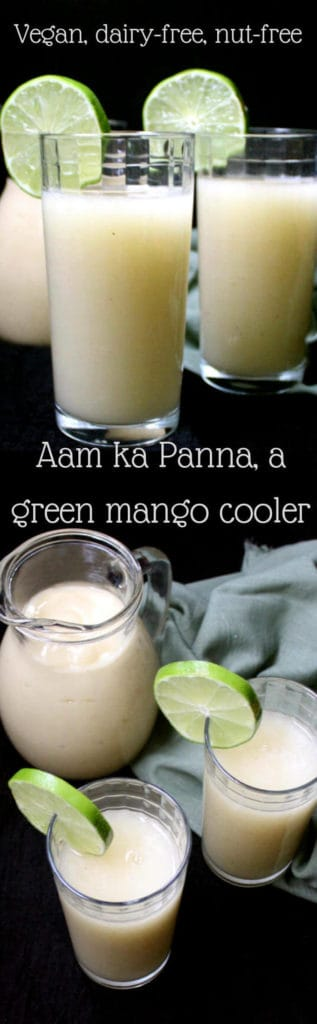 A tall, refreshing glass of Aam ka Panna, a green mango cooler, is exactly what you need during the dog days. #vegan #soyfree #glutenfree #drink #beverage #indian #recipes #holycowvegan HolyCowVegan.net