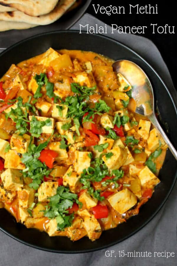 Instant Methi Malai Paneer Tofu. Put this popular Indian restaurant dish together in less than 15 minutes, with the basic tomato onion sauce. #vegan #indianrecipes #curry #sauce HolyCowVegan.net