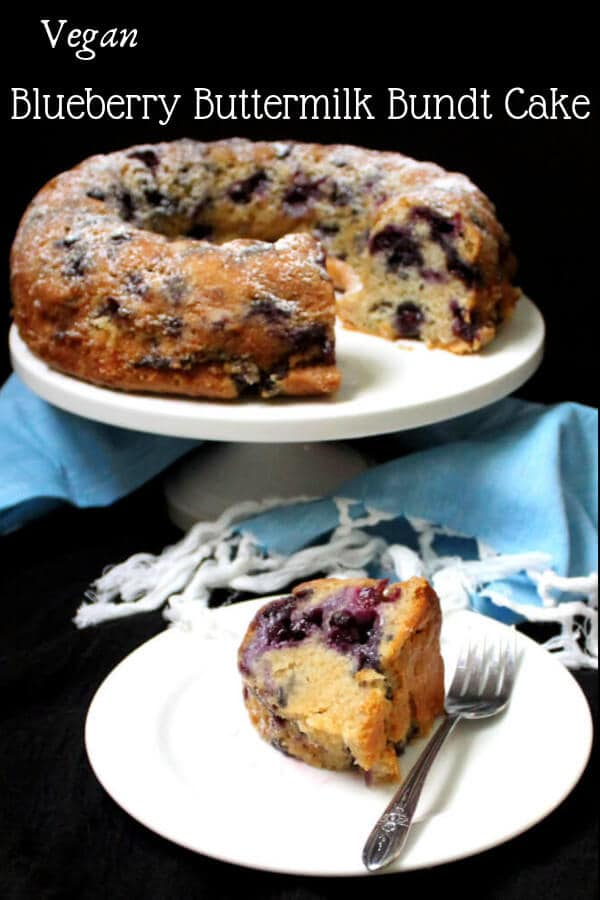 This vegan Blueberry Buttermilk Bundt Cake has a light yet moist crumb, hints of lemon and purple streaks of gooey, baked blueberries. #blueberries #cake #spring #dessert HolyCowVegan.net