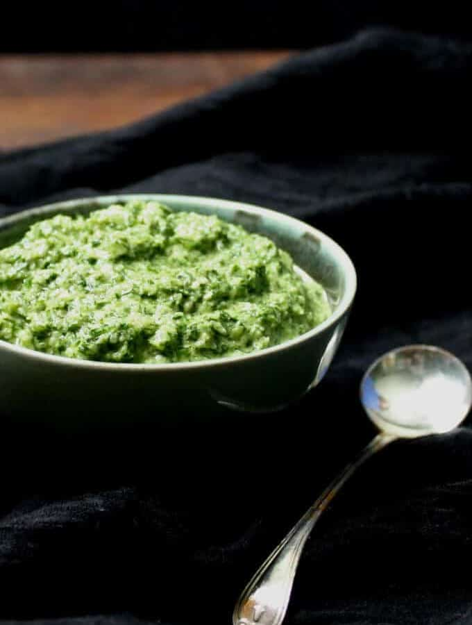 A fresh and green Fennel Fronds Pesto that's fresh and delicious and nutritious. A great way to use up the feathery leaves you might otherwise throw out. #vegan, #soyfree, #glutenfree, #pesto, #nutfree #holycowvegan HolyCowVegan.net