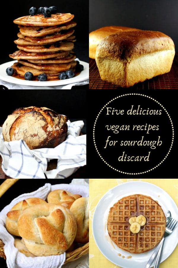 Five delicious vegan recipes using the discard portion of your sourdough starter. Breads, waffles, pancakes, pretzels and more. #vegan, #sourdough, #breads, #baking HolyCowVegan.net