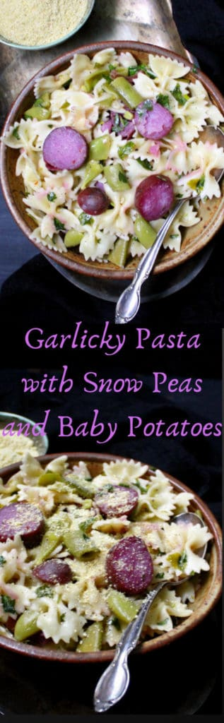 A fresh, springtime garlicky pasta with snow peas and new potatoes. #vegan, #pasta, #snowpeas, #potatoes HolyCowVegan.net