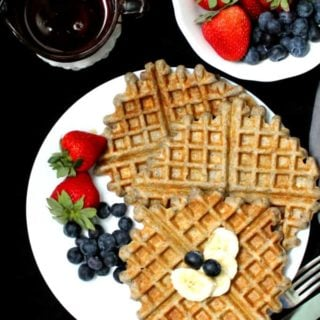 Vegan Gluten Free Sourdough Waffles that are tender and melt in your mouth. #waffles, #sourdough, #breakfast HolyCowVegan.net