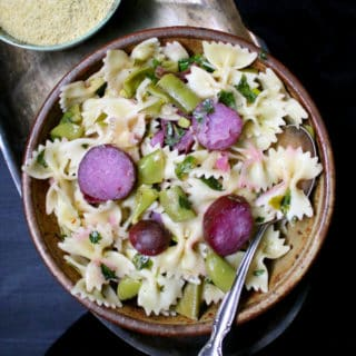 A fresh, springtime pasta with snow peas and new potatoes. #vegan, #pasta, #snowpeas, #potatoes HolyCowVegan.net