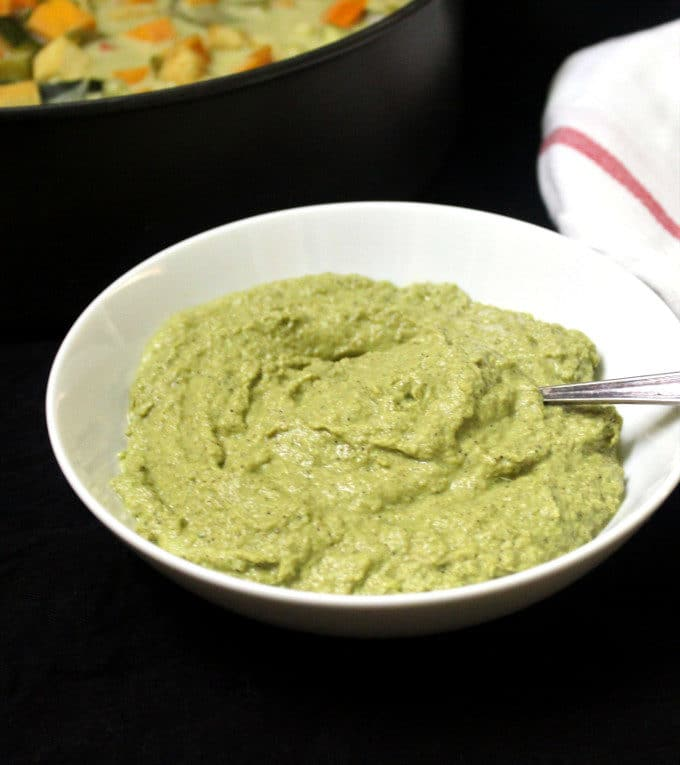 Front shot of a bowl of Thai green curry paste