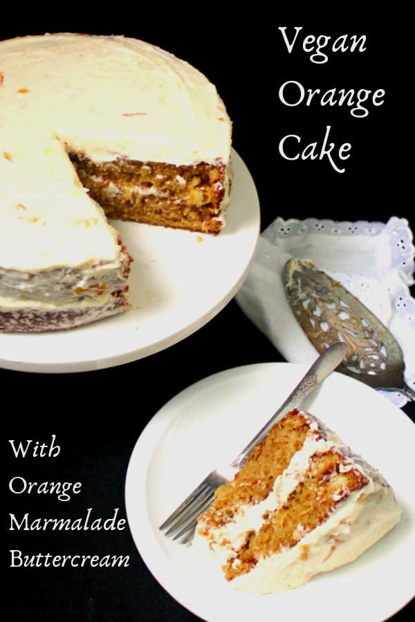 Vegan Orange Cake with Orange Marmalade Buttercream Frosting