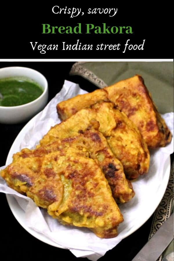The best Bread Pakora, veg Indian recipe, with tamarind and green chutneys and potato stuffing