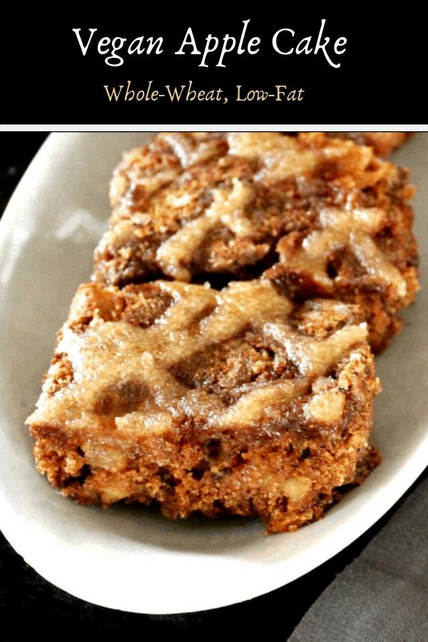 Vegan Apple Cake with Applesauce Cinnamon Vanilla Drizzle