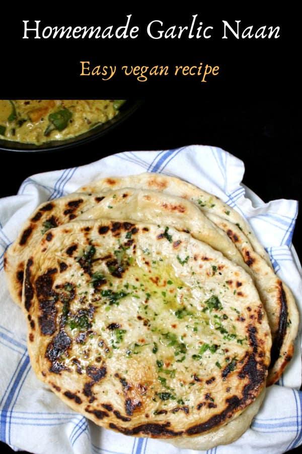 Homemade garlic naan bread, vegetarian, dairyfree