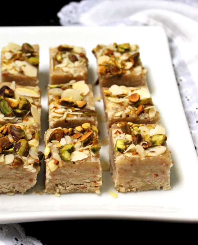 Vegan burfi on a plate