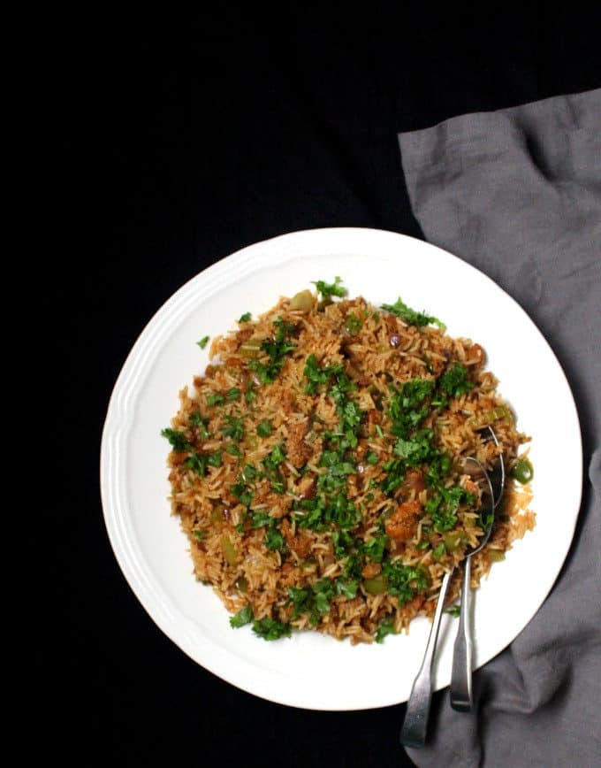 A long top shot of vegan dirty rice