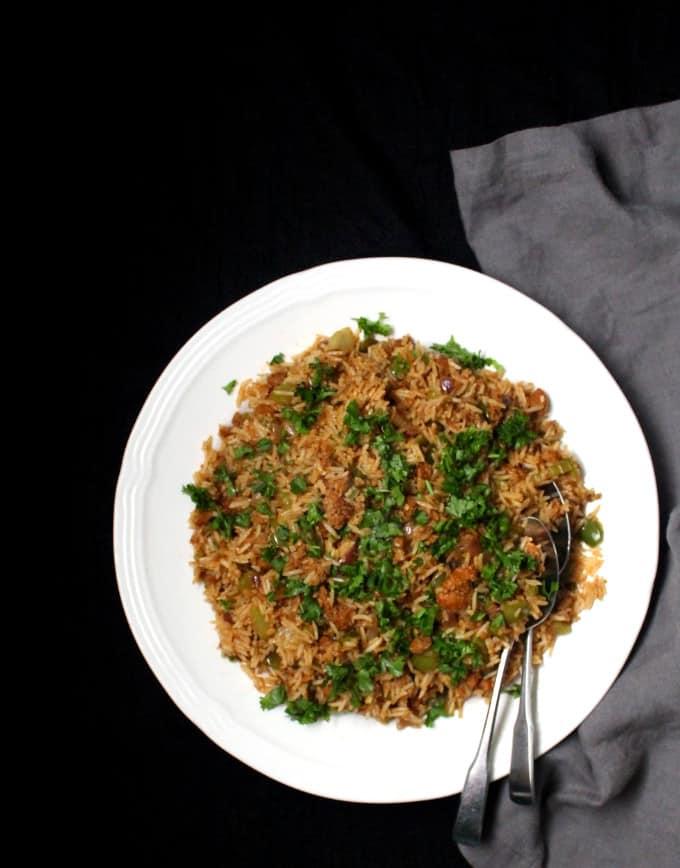 A long top shot of vegan dirty rice