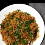Dirty Rice Recipe with beyond meat sausage, vegan, gluten-free, soy-free