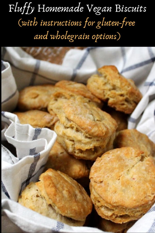 Fluffy homemade vegan biscuits, with gluten-free and wholegrain options