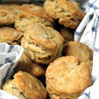 Vegan biscuits in a basket with a blue and white napkin