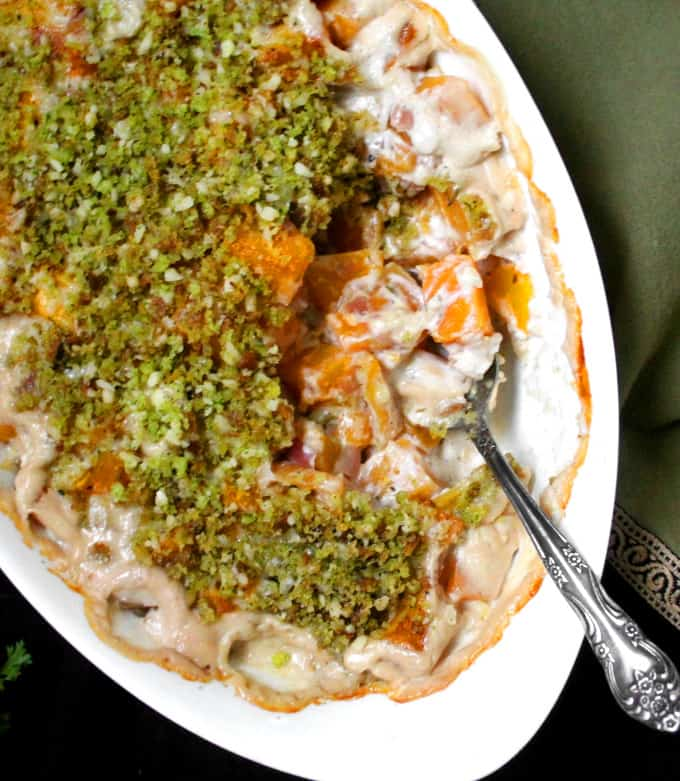 Top shot of vegan butternut squash gratin