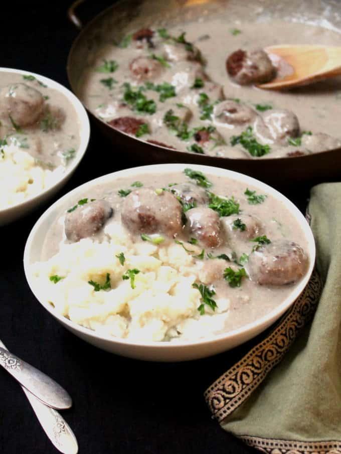 Vegan Meatballs in Creamy Mushroom Sauce