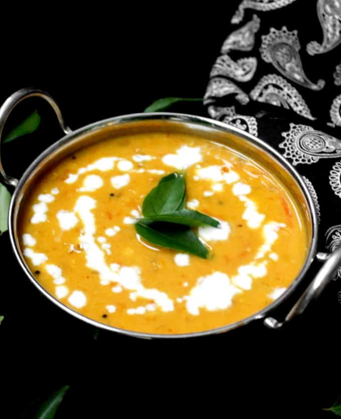 Front shot of red lentil masoor dal