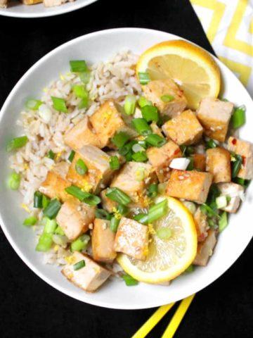vegan glazed lemon tofu