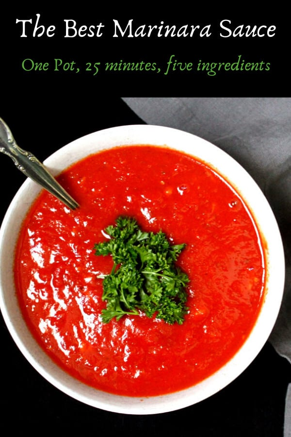 Marinara Sauce, one pot, five ingredients, 25 minutes