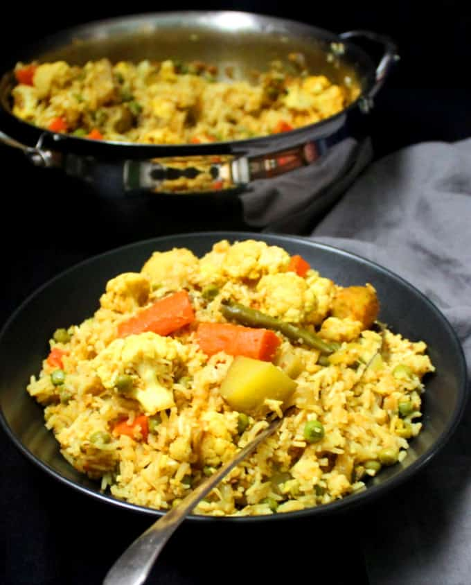 Vegetable Tehri or Tahiri, a rice pulao with veggies like cauliflower, carrots, potatoes and green peas