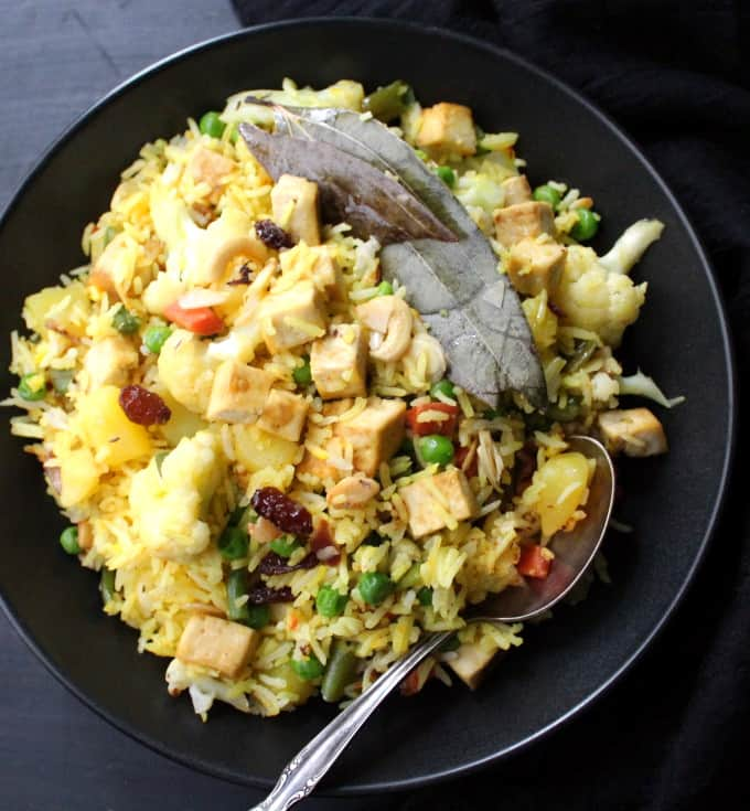 Navratan Pulao, an Indian vegetarian rice dish