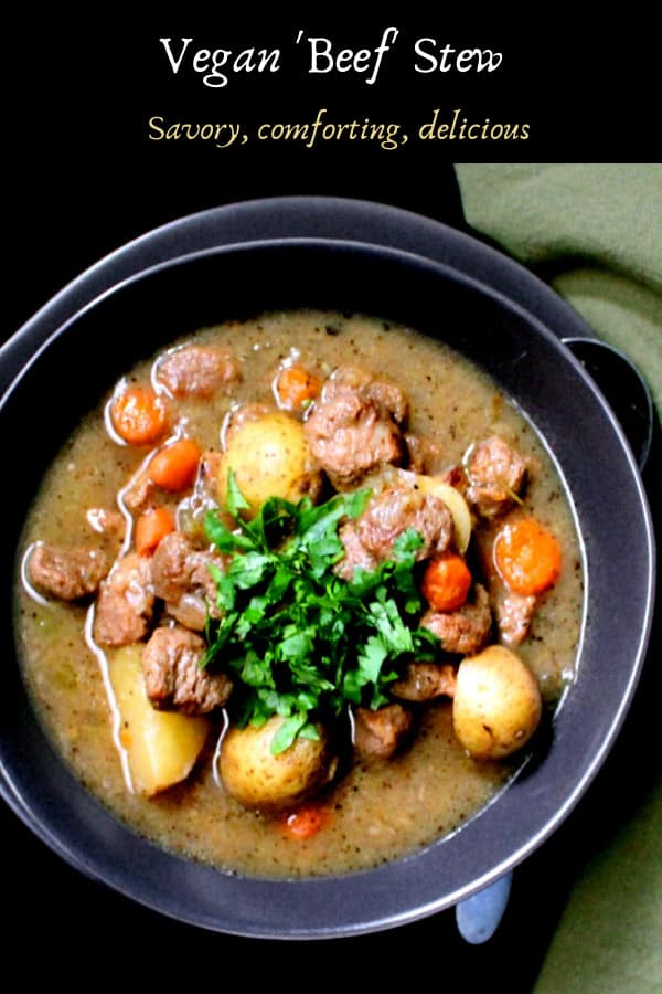 A meatless and vegan beef stew with soya chunks, carrots, potatoes, celery, herbs, onions and garlic.