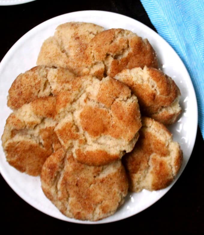 Vegan Snickerdoodle cookies on a white plate