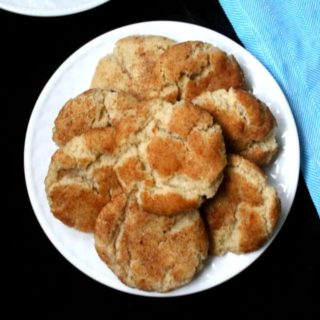 Vegan snickerdoodles on a white plate