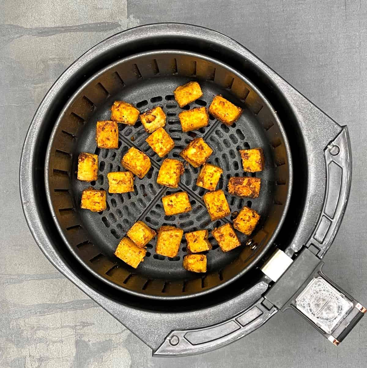 Air fryer tofu step-by-step process photos