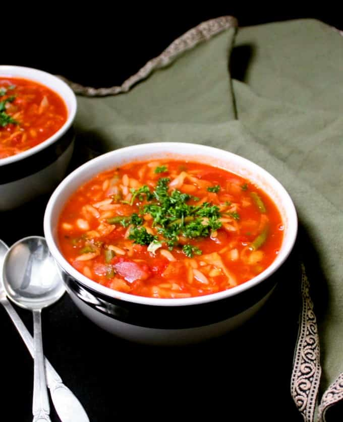 An Italian minestrone soup is a classic for any time of the year, but a hot bowlful of this rich red soup -- a one-pot meal, really, packed chock full with veggies and beans and pasta -- is a special treat in winter. A vegan, soy-free, nut-free and gluten-free recipe, can be oil-free.