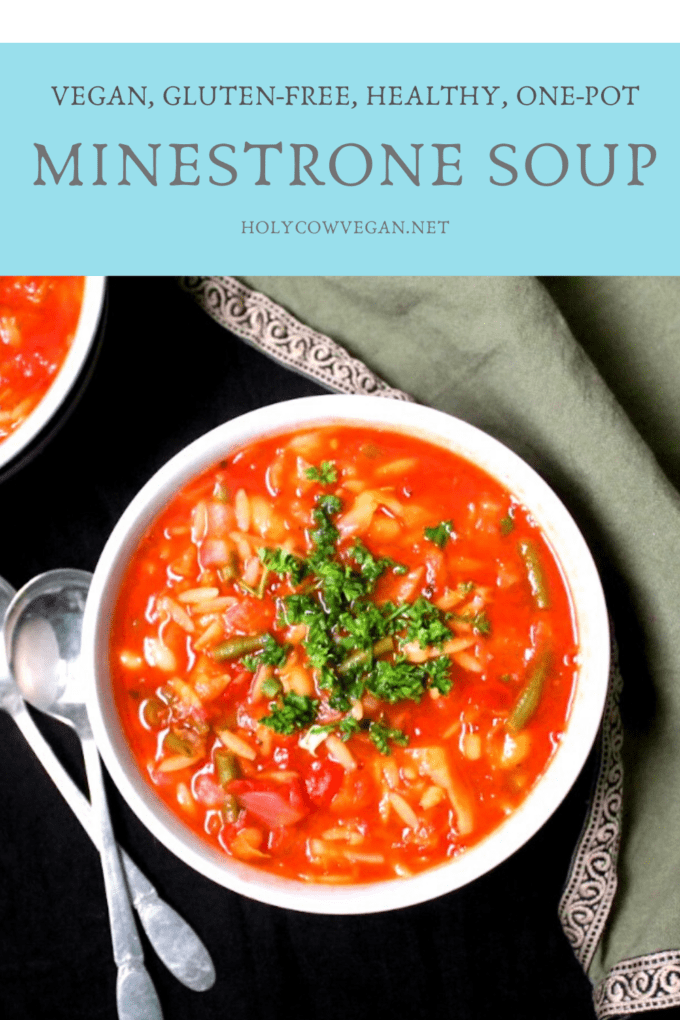 Vegan Minestrone Soup in a bowl with parsley and orzo