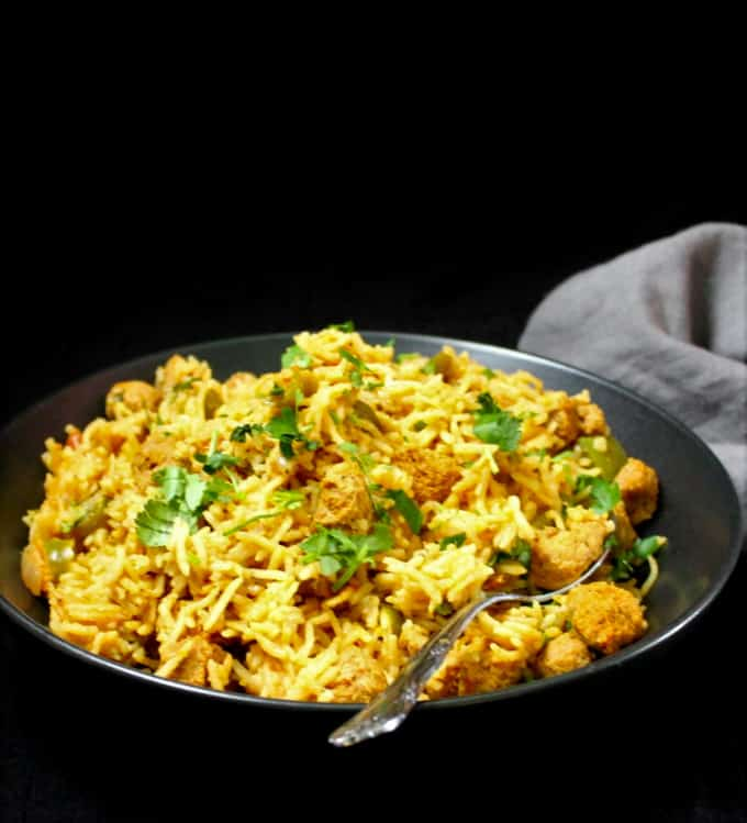 Indian style soya chunks pulao made with soy or TVP nuggets
