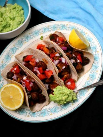 Vegan Potato Tacos with guac and salsa