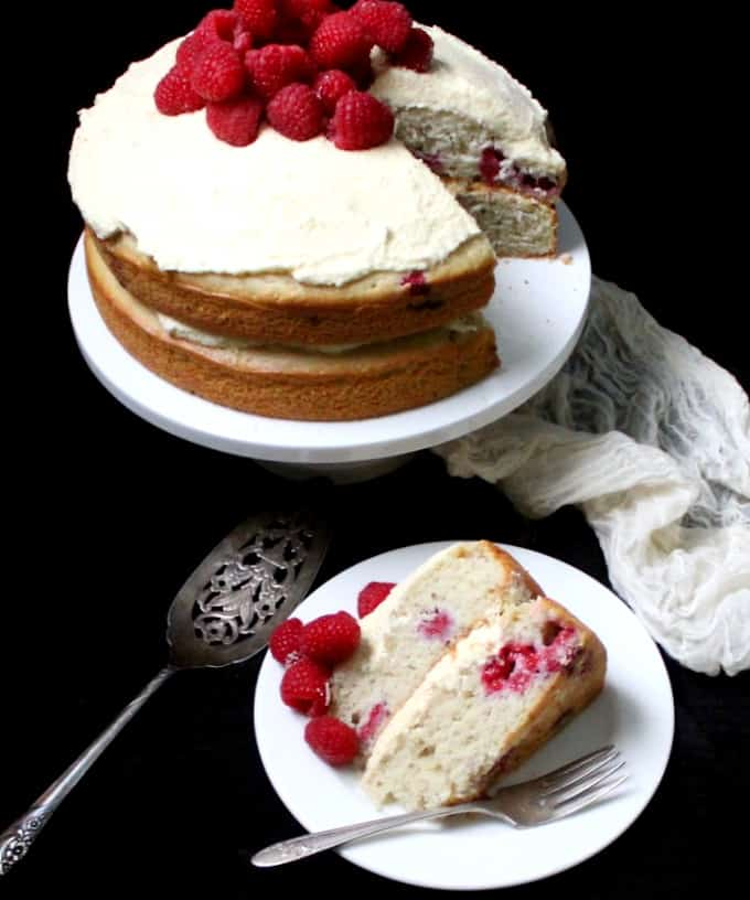 Vegan white chocolate cake with raspberries